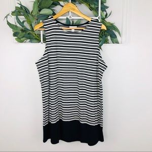 J Jill Black and White Striped Sleeveless Top
